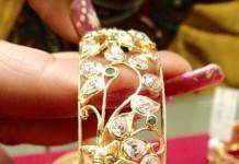 Gold Designer Bangles with screw adjustments