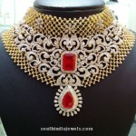 Bridal Diamond Choker With Red Stones