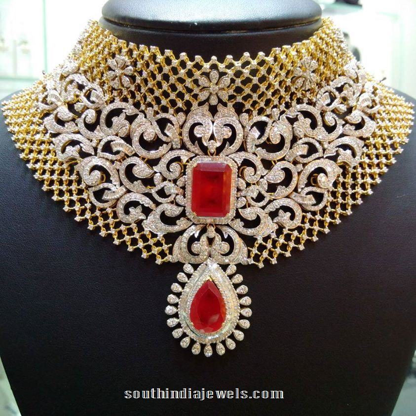 Bridal Diamond Choker With Red Stones South India Jewels