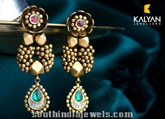 Kalyan Jewellers designer kundan earrings
