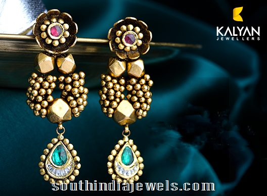 Kalyan Jewellers designer kundan earrings