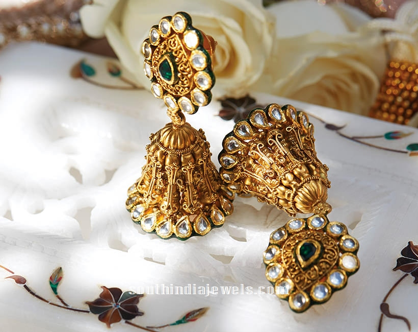 Gold Jhumka From Tanishq ~ South India Jewels