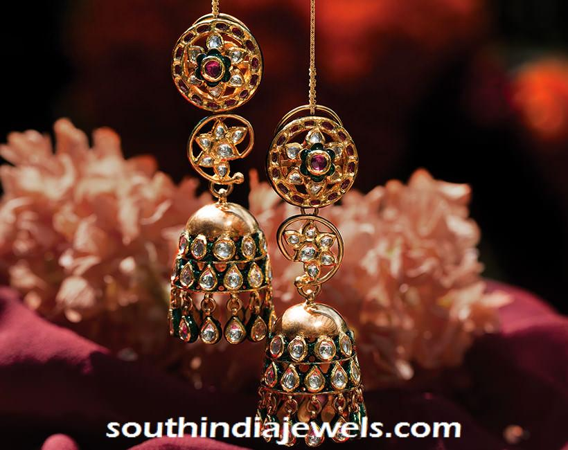 Layered gold kundan Jhumka from Tanishq