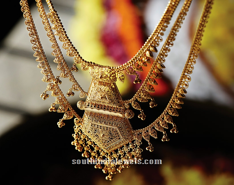 Multilayer Gold Necklace Design From Tanishq ~ South India Jewels
