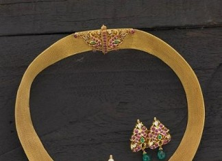 Ruby Peacock Choker with studs from Arnav jewellers