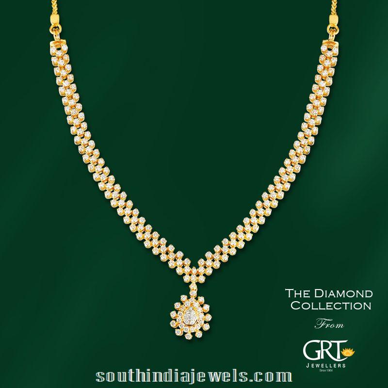 cb01bb8798ea4 Simple Stylish Diamond Necklace ~ South India Jewels