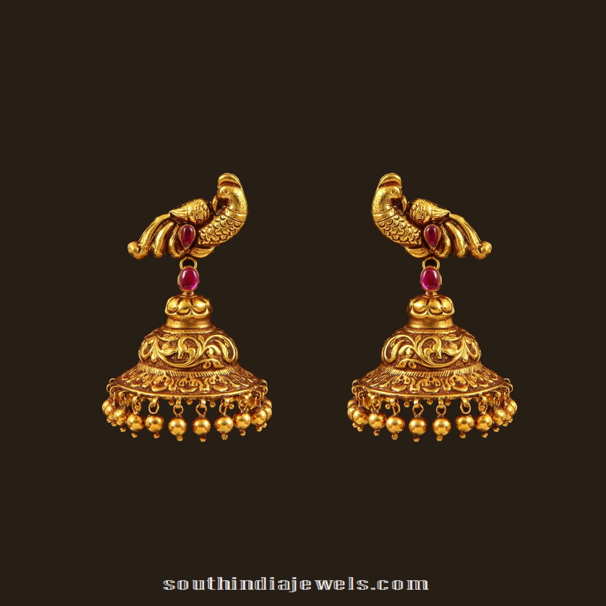 Gold Antique Peacock Jhumka South India Jewels