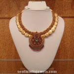 Gold Beads Clustered Coin Necklace