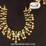 Gold Emearld Pearl Necklace