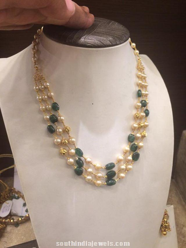 Gold Emerald pearls mala
