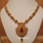 Gold Floral Ruby Emerald Necklace