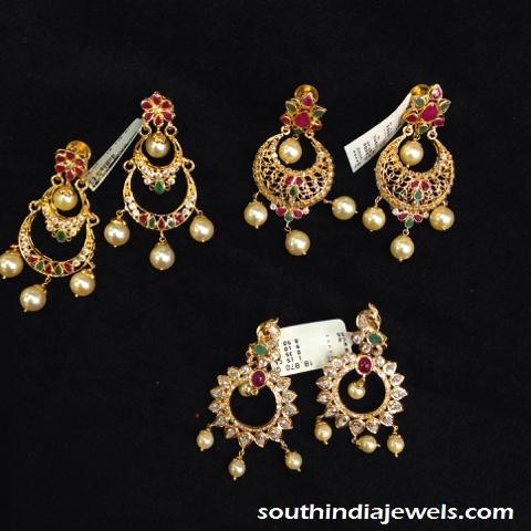 Light weight gold ruby chandbali earrings