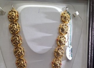 Gold Nakshi temple jewellery long necklace