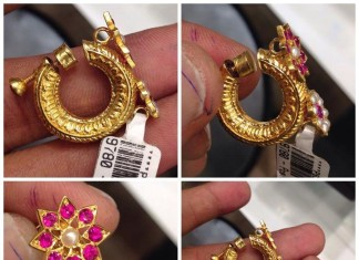 Gold ruby ring type earrings from premraj