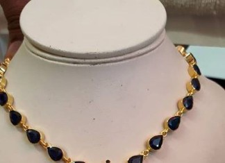 Gold Sapphire necklace designs