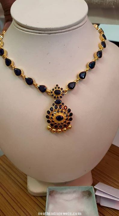 Gold Sapphire necklace designs
