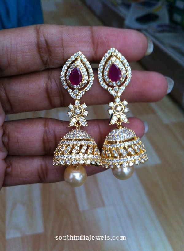 anmerican diamond stone jhumkas and pin latest jhumka diamonds american