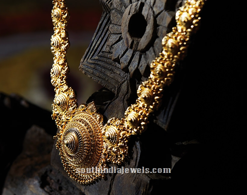 Gold Long Necklace From Tanishq ~ South India Jewels