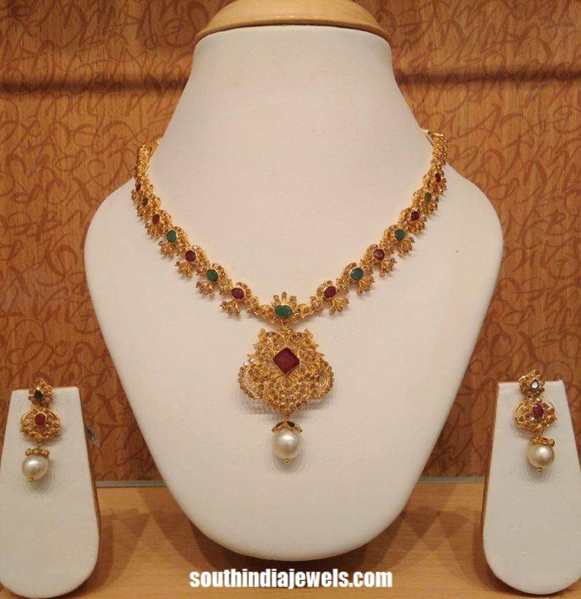 carat set teamed necklace beautiful studded emeralds matching com and jewelorigins designer rubies indian diamond with jhumkas gold uncut diamonds