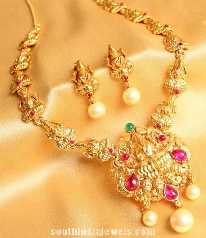 One Gram Gold Lakshmi Necklace Design