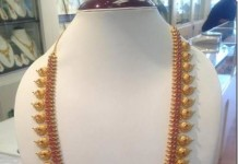 Gold Ruby Mango Long Necklace