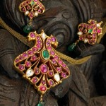 Gold Ruby Peacock Pendant with Earrings
