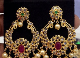 Artificial Jewellery uncut stone chandbali Jhumka