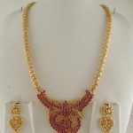 One Gram Gold Ruby Long Necklace Design