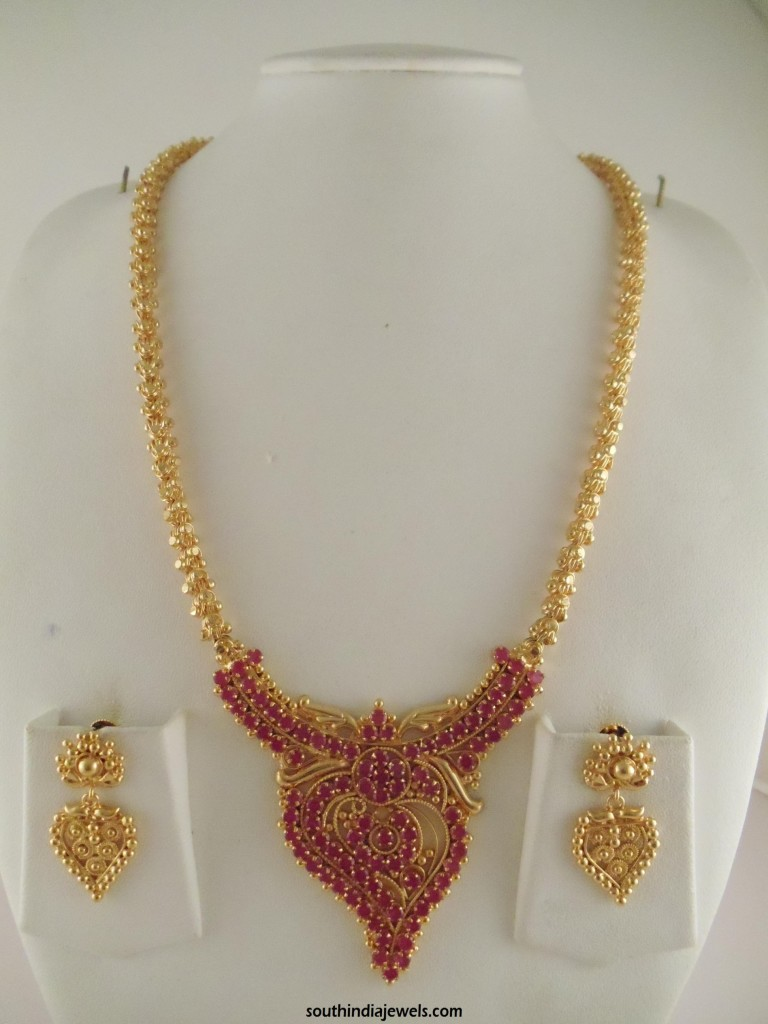 1 Gram Gold Ruby Long Necklace Design