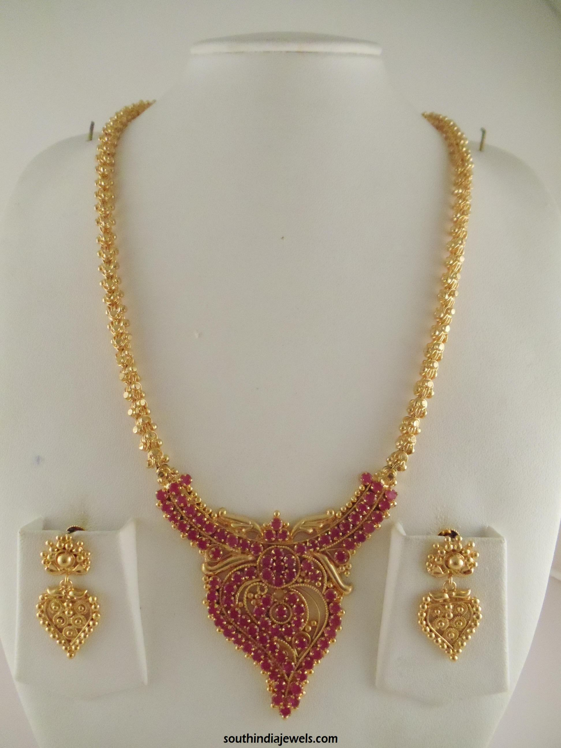 One Gram Gold Ruby Long Necklace Design ~ South India Jewels