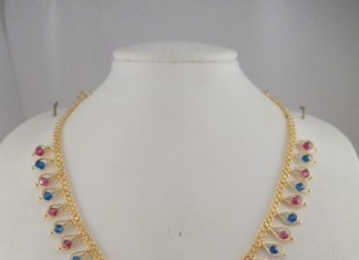 1 gram gold ruby crystal necklace
