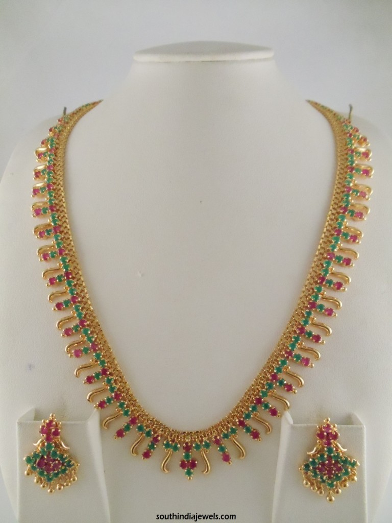 1 gram gold ruby emerald stone necklace design