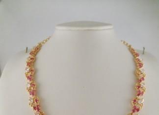 1 Gram gold ruby white shone necklace