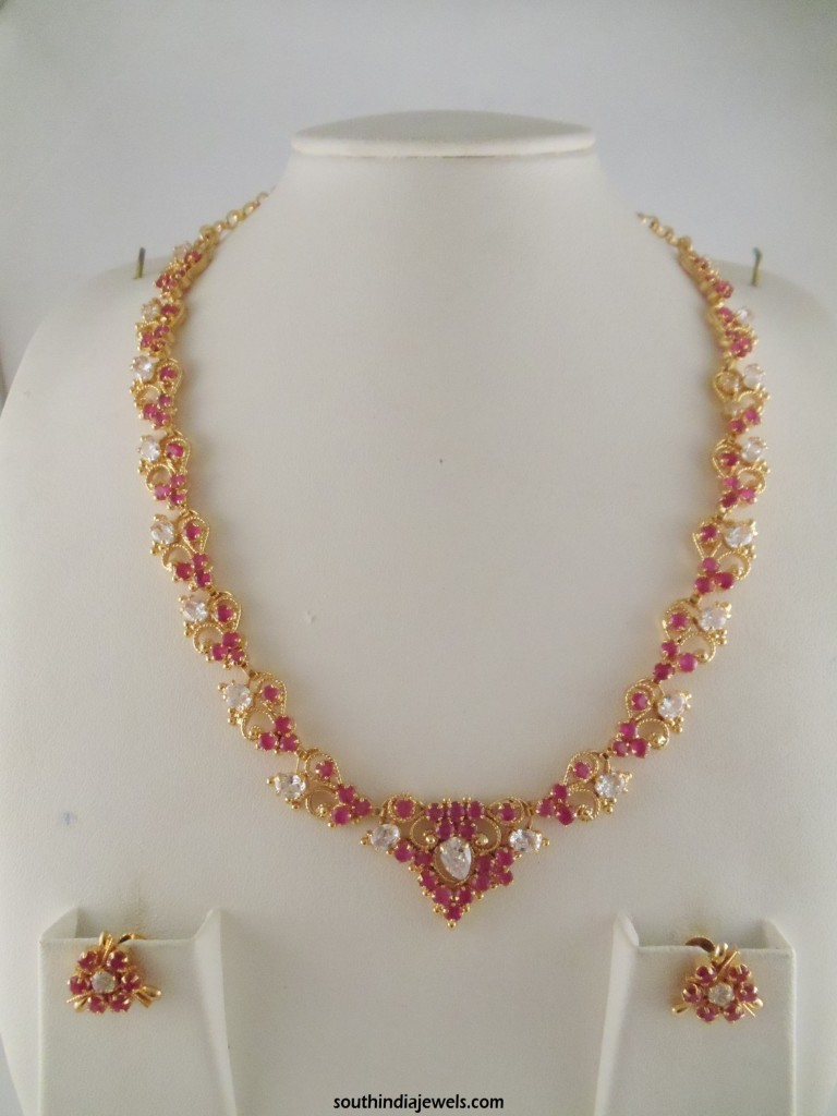 1 Gram gold ruby white shone necklace