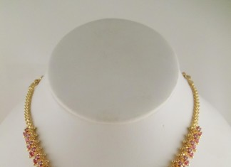 1 Gram gold Ruby Necklace Design