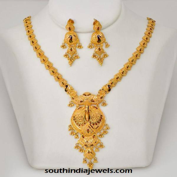 Latest Model Gold Necklace With Earrings South India Jewels