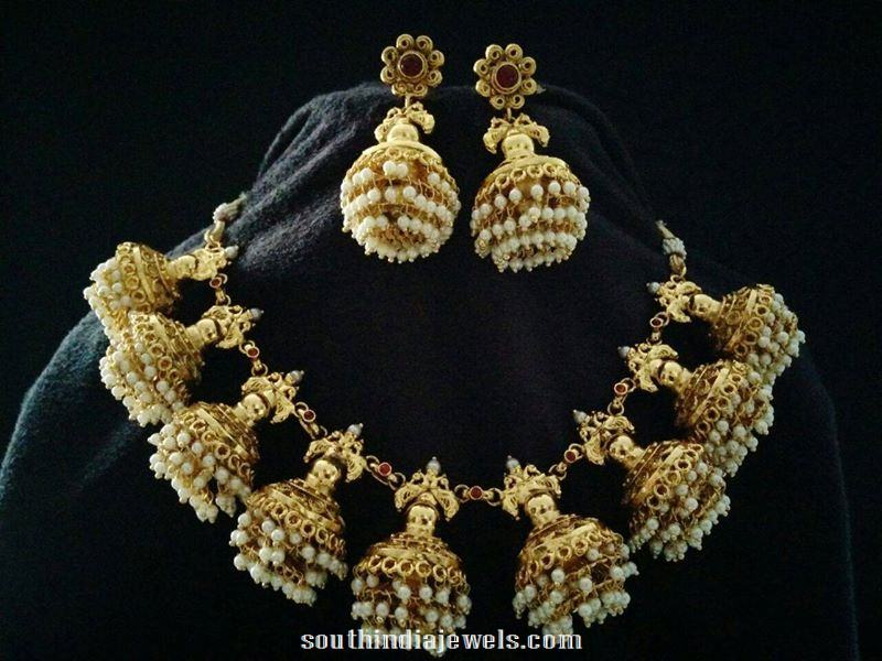 Antique pearl jhumka necklace design