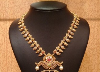 Antique short mango haram with pearls pendants