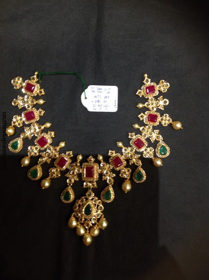 Cz Stone Ruby Emerald Necklace From Psj South India Jewels