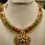 Gold Ruby Emerald Clustered Necklace