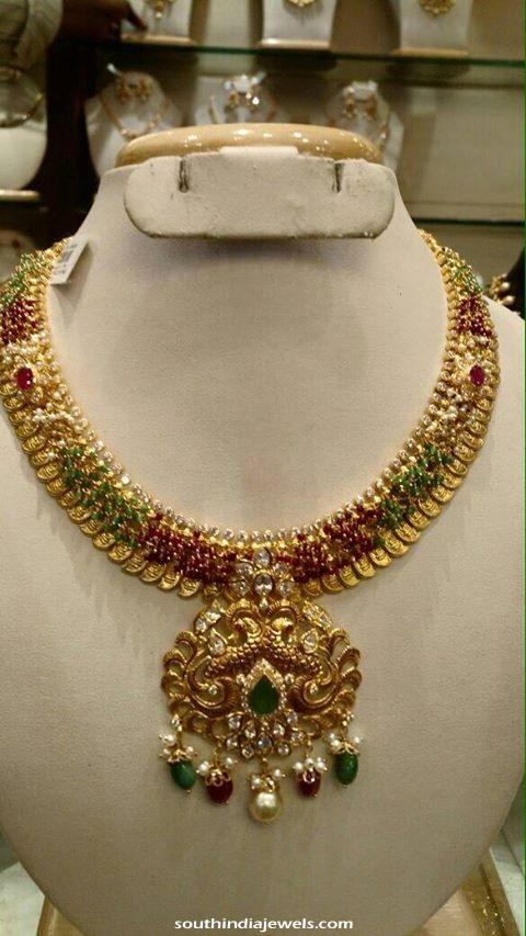 Classic gold ruby clustered Necklace