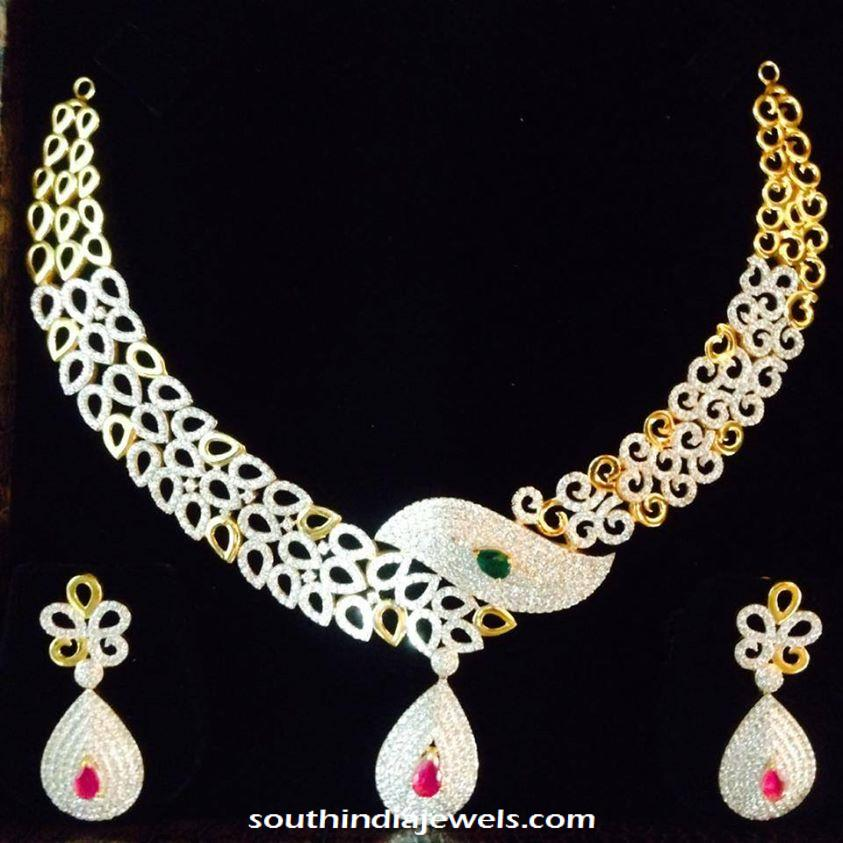 Fancy gold stone necklace and earrings