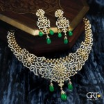 Grand Diamond Necklace with Emerald Beads