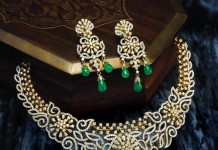 Diamond Necklace with Emerald Beads
