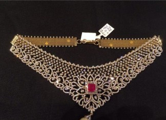 Diamond Choker with square ruby stone