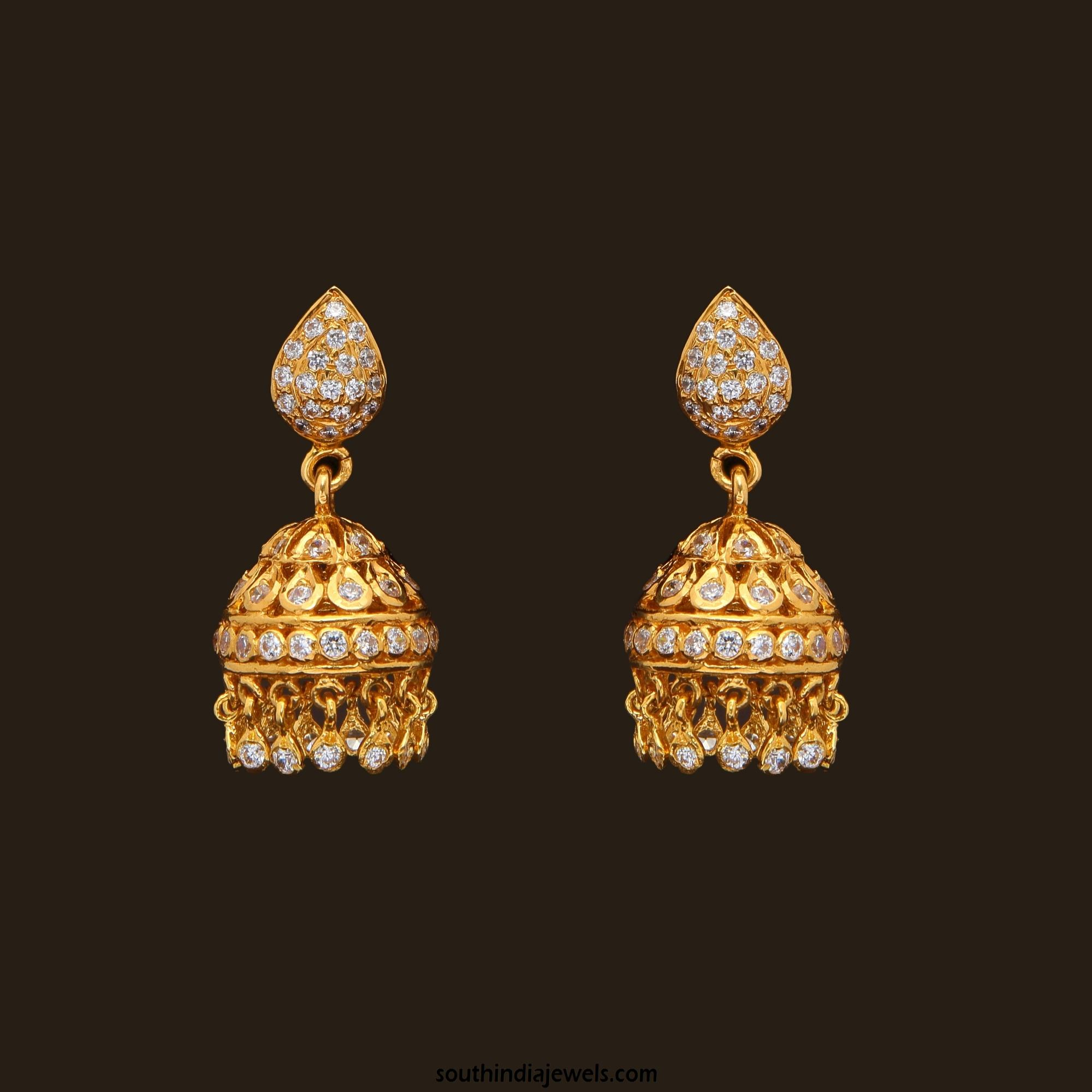 Gold Stone Jhumka From Vbj South India Jewels