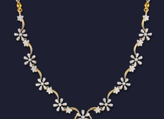 GRT Jewellers diamond floral necklace