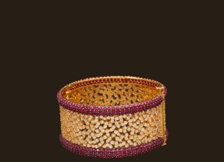 Gold CZ Stone ruby bangle