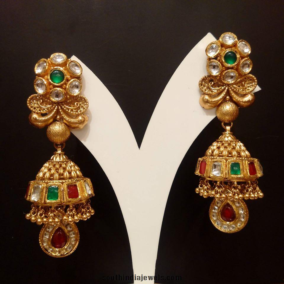 Gold Jhumka with Colorful kundans