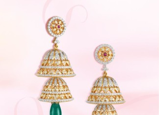 GRT Jewellers Gold stone Jhumka designs